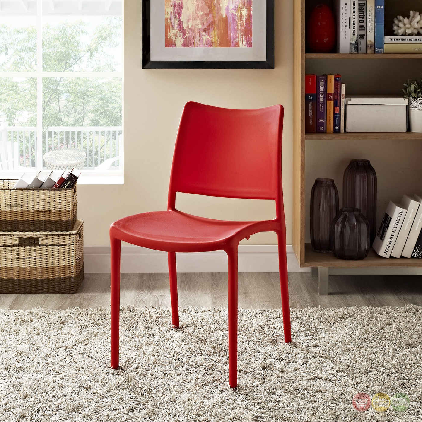 Hipster Contemporary Stackable Plastic Dining Side Chair, Red