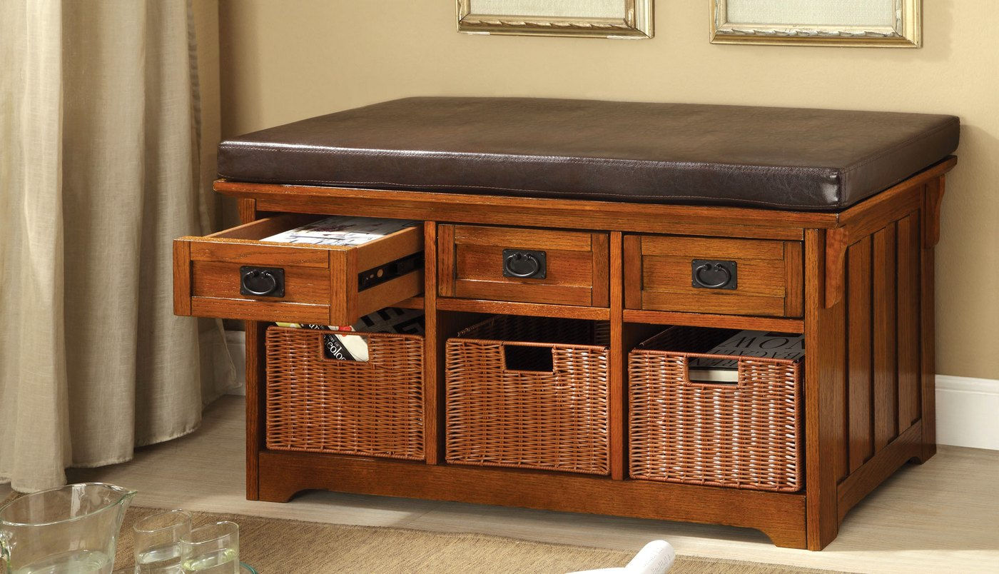 Hobart Antique Oak Storage Benches With 4 Drawers