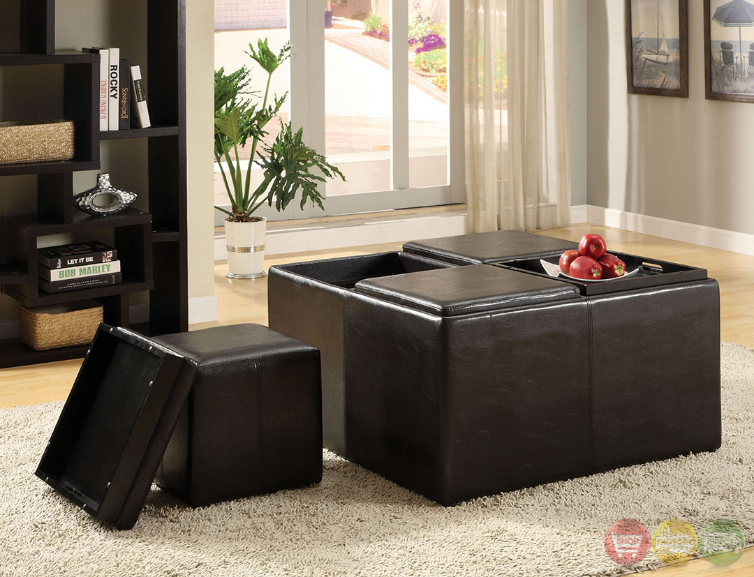 Holloway Espresso Storage Ottoman With 4 Flip Top Trays