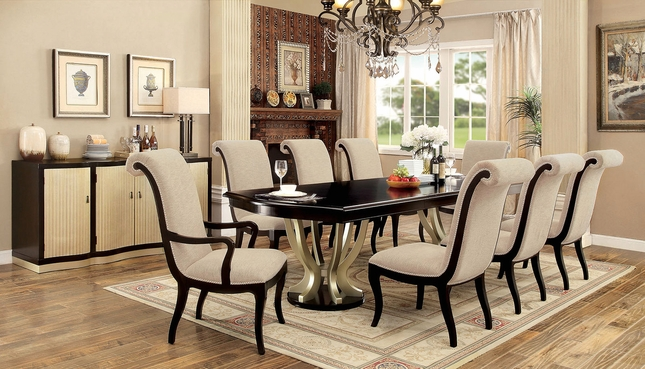 Hollywood Hills 5-Pc 84\ -106\  Dining Table Set in Dark Espresso & Champagne \u0026 Espresso Dining Table Set | Shop Factory Direct