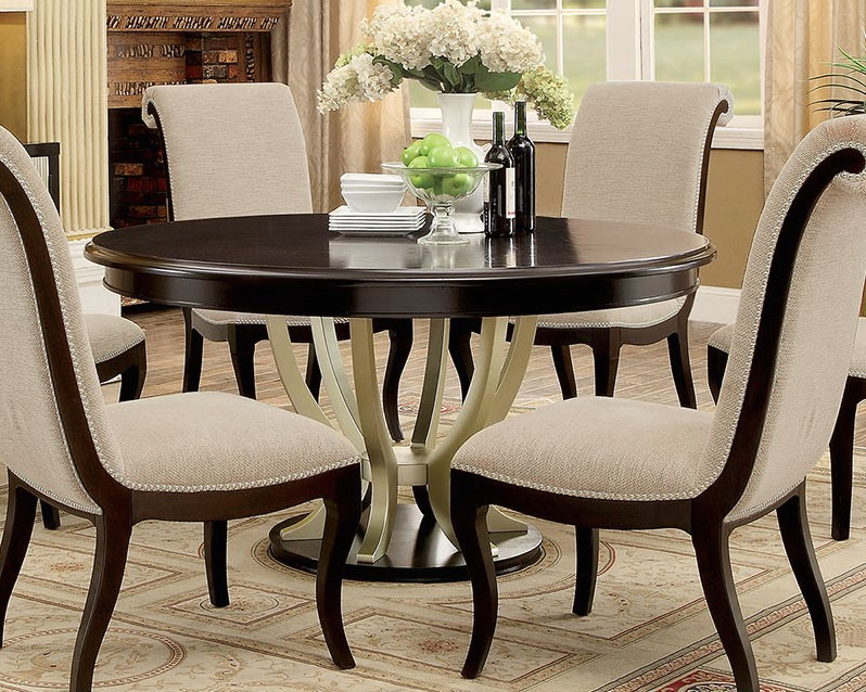"""Hollywood Hills Round 60"""" 5-Pc Dining Table Set in ..."""