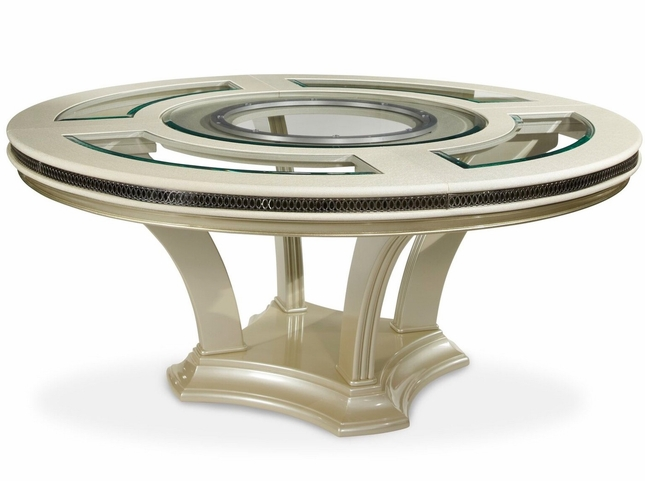 Hollywood Swank Modern Round Glass Top Dining Table In Pearl - 72 round modern dining table