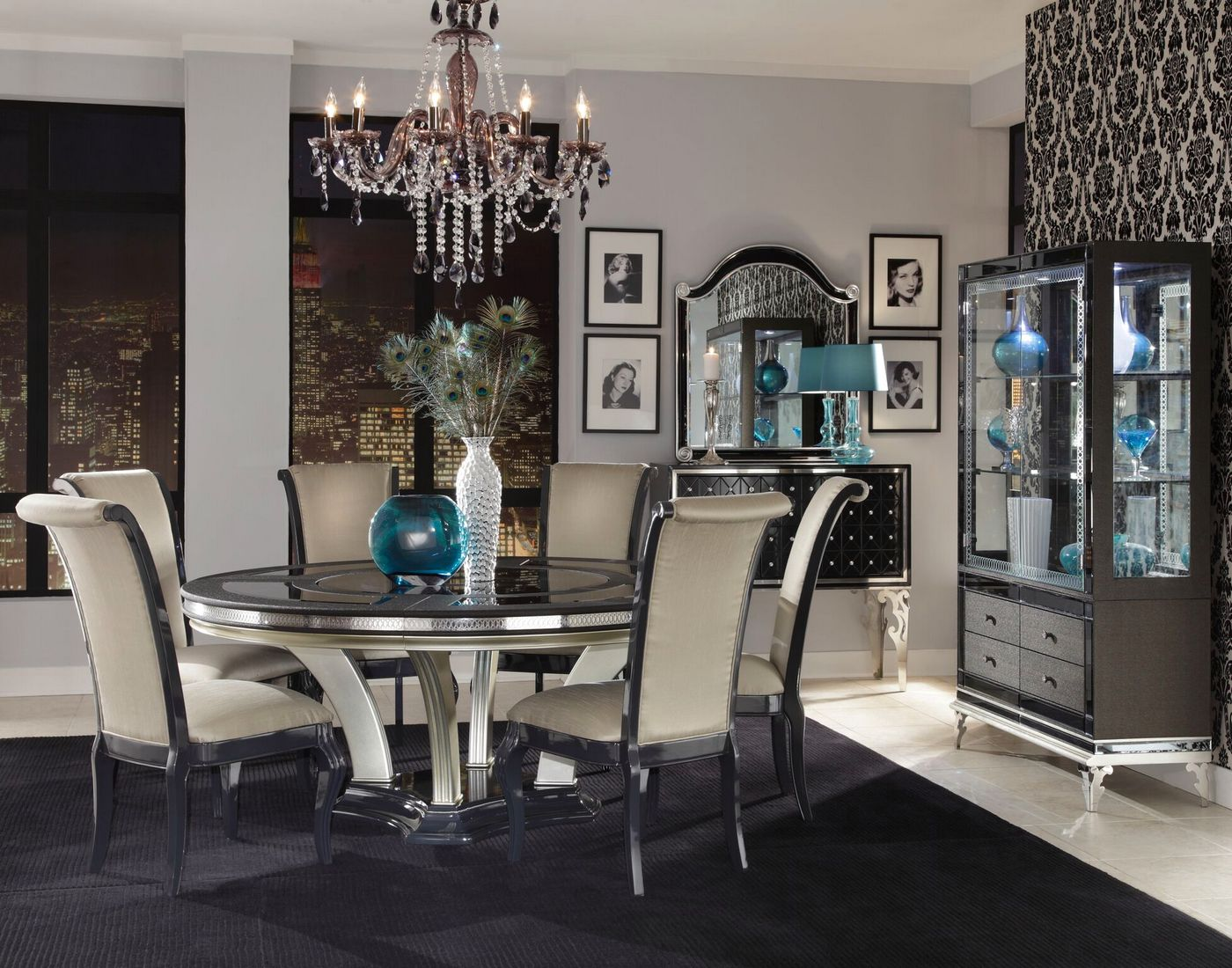 hollywood swank modern 72 round glass top dining table caviar nt 85