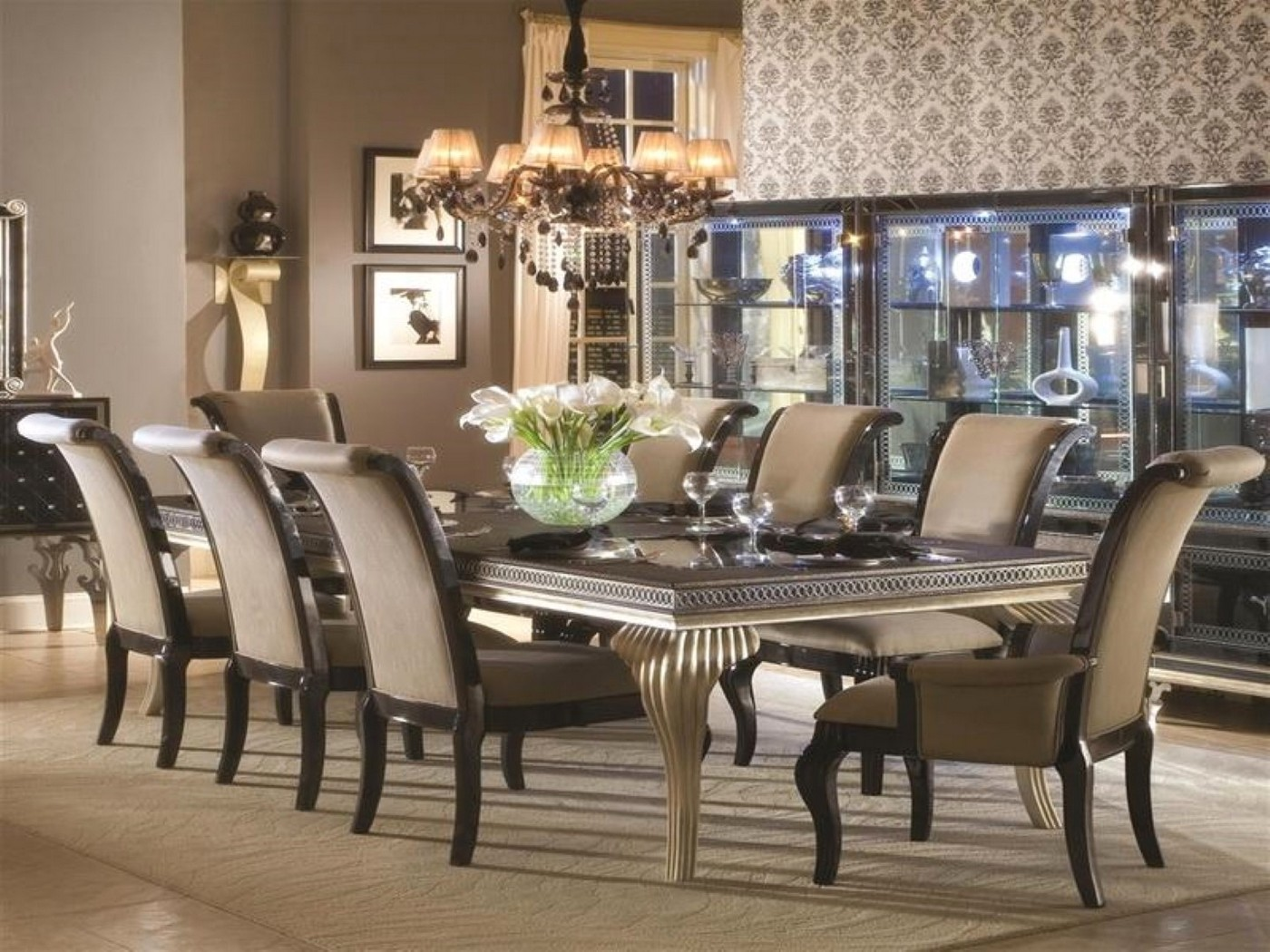 """Hollywood Swank Modern 5-Pc 102"""" Glass Top Dining Table ..."""