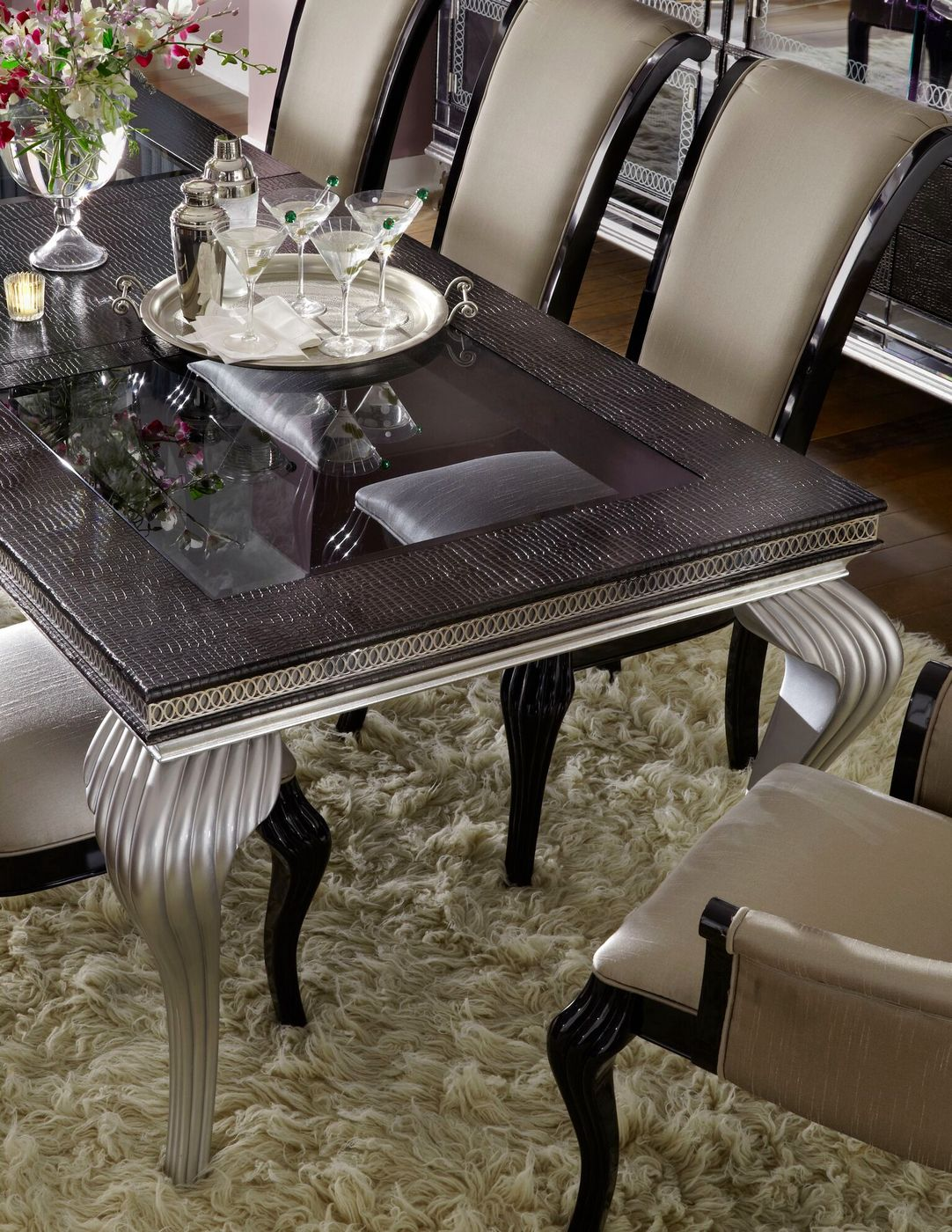 "Hollywood Swank Modern Dining Room Set 102"" Glass Top"