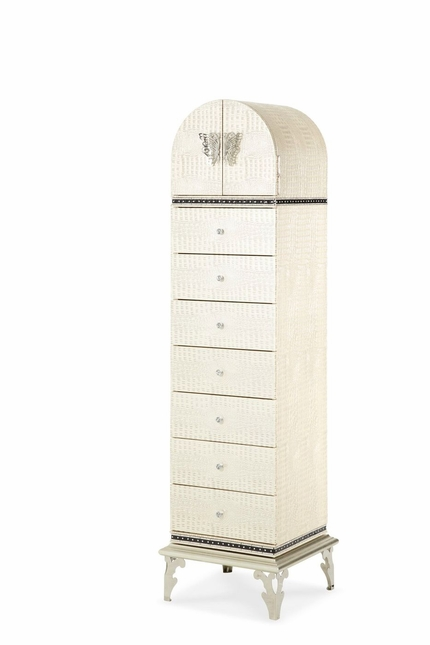 Hollywood Swank Modern 7-Drawer Lingerie Chest in Beige Faux Croc Finish