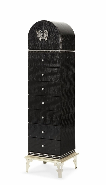 Hollywood Swank Modern 7-Drawer Lingerie Chest in Black Faux Croc Finish