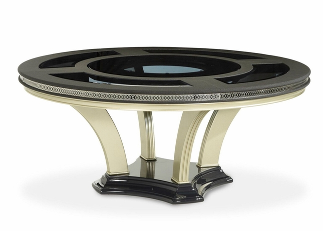 Hollywood Swank Modern Round Glass Top Dining Table In Caviar Finish - 72 round glass dining table