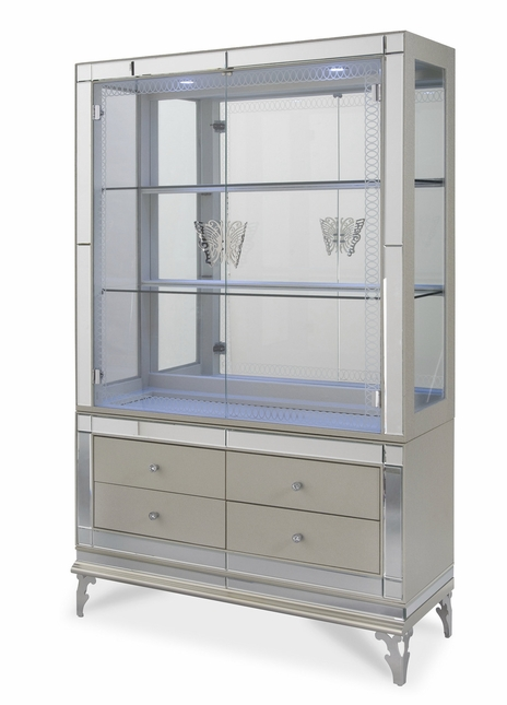 Hollywood Swank Modern Curio Cabinet With Door Base In Pearl Caviar Finish
