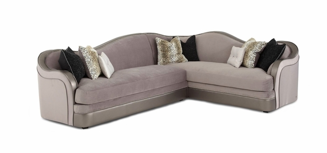 Hollywood Swank Modern Grey Fabric 2-Pc Sectional with Nailhead Trim Accents