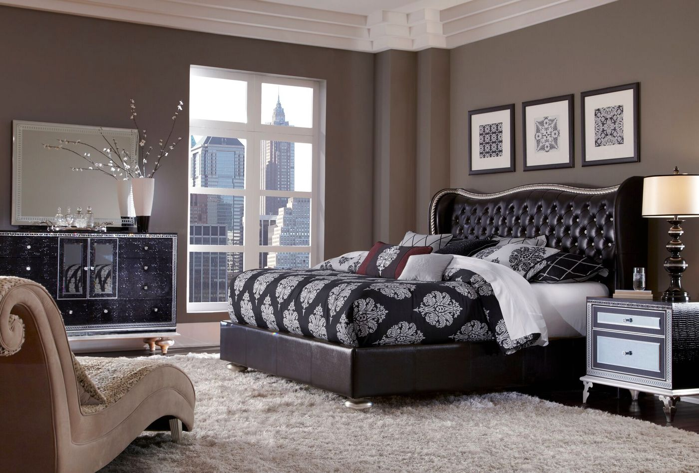 Details about Hollywood Swank Modern Starry Night Black Leather 10pc Queen  Bedroom Set