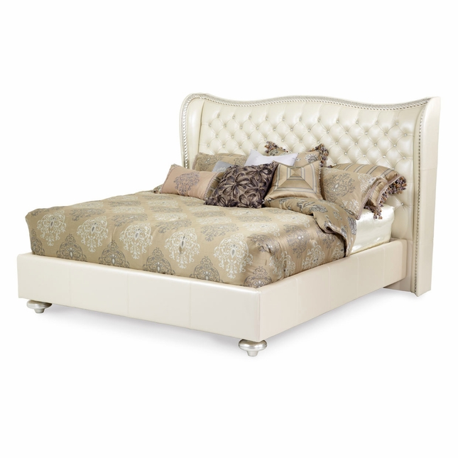 Hollywood Swank Modern Wing Back Beige Leather Queen Bed In