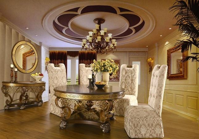 Ornate Gold Trimmed Round Dining Set Homey Design Free
