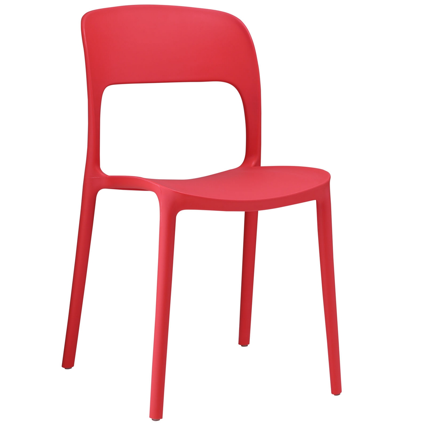 Hop modern stackable plastic dining side chair red for Stackable dining room chairs