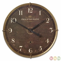 Hotel Du Vieux Traditional Brown Wall Clock 06044
