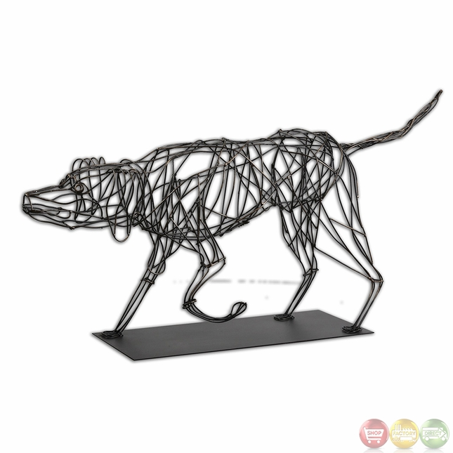 Hound dog traditional mahogany wire sculpture 19808 for Dog wire art