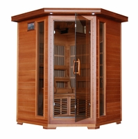 HUDSON BAY 3 Person Cedar Infrared Corner Sauna Carbon Heaters Stereo