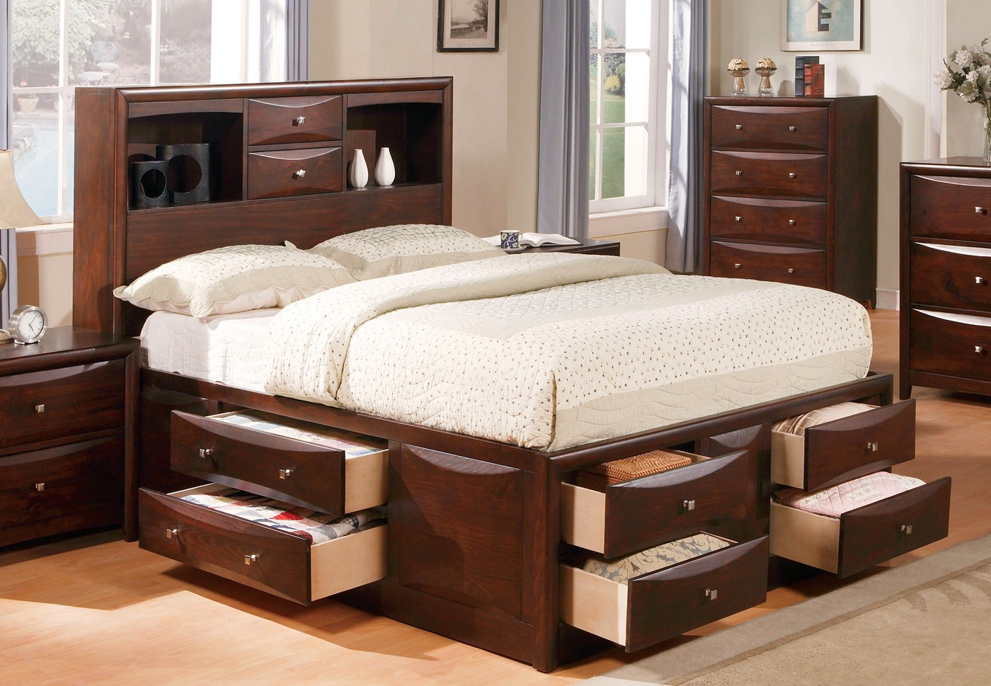 Hudson casual 4 pc cal king storage bed set in brown - Espresso brown bedroom furniture ...