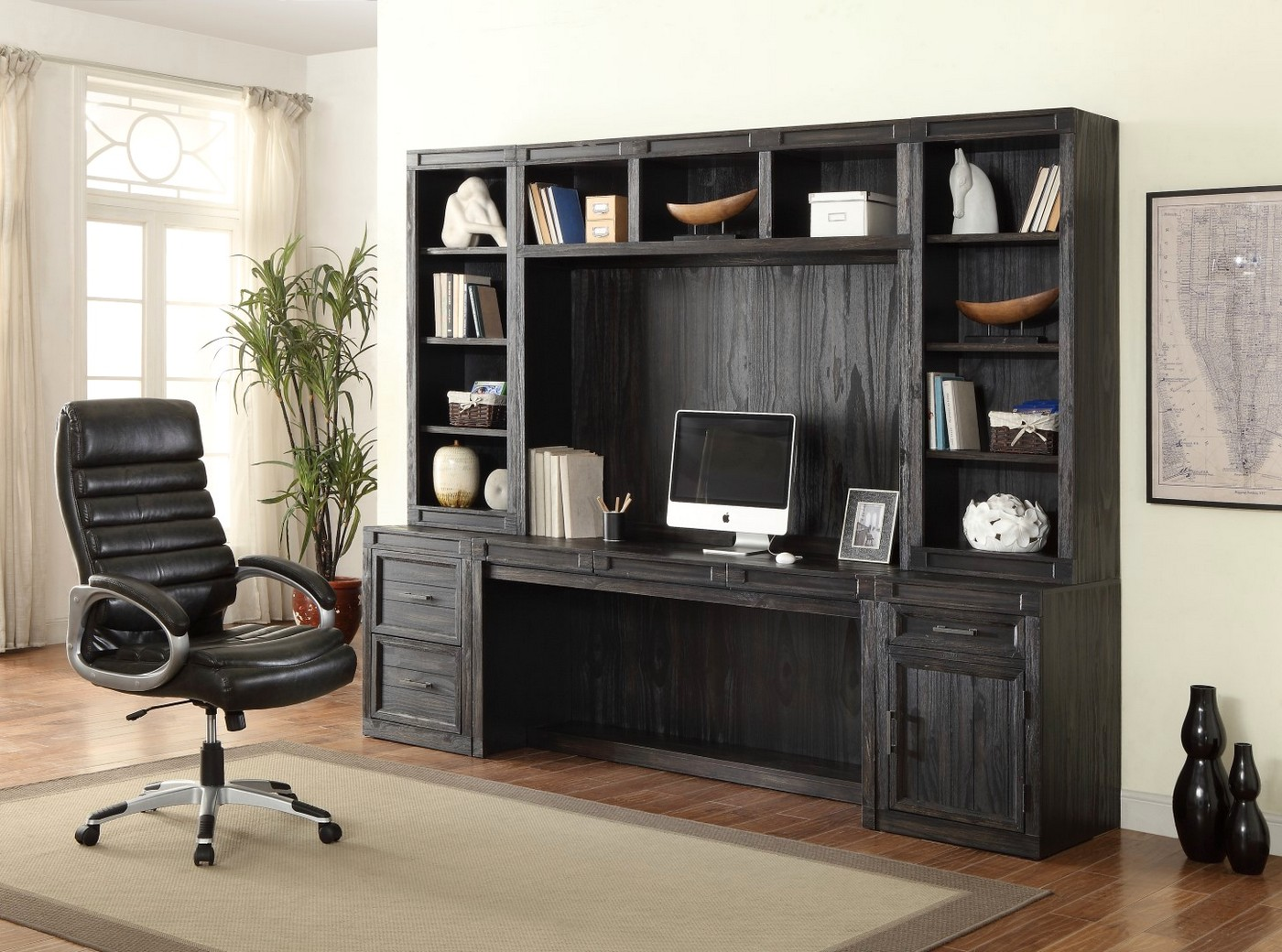 Hudson Rustic 6pc Home Office Furniture Desk Set In Dark Distressed Midnight Finish