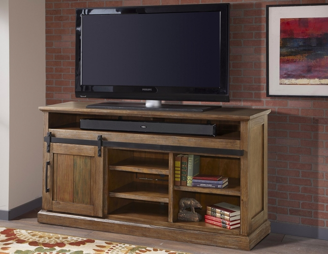 Hunts Point Country Rustic 64 Sliding Door Tv Media Stand In Vintage Weathered Pine