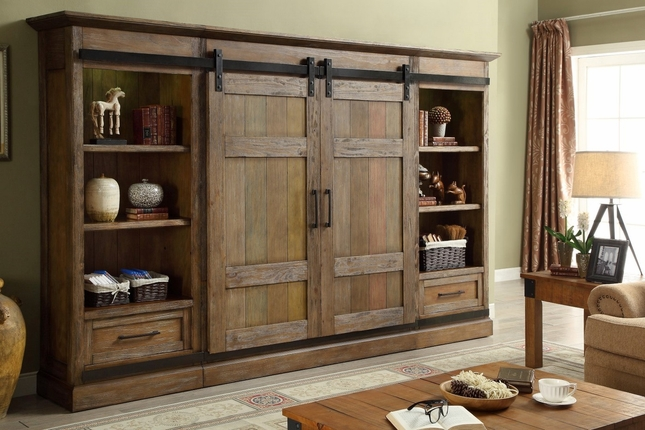 Hunts Point Country Rustic Sliding Door Entertainment Wall