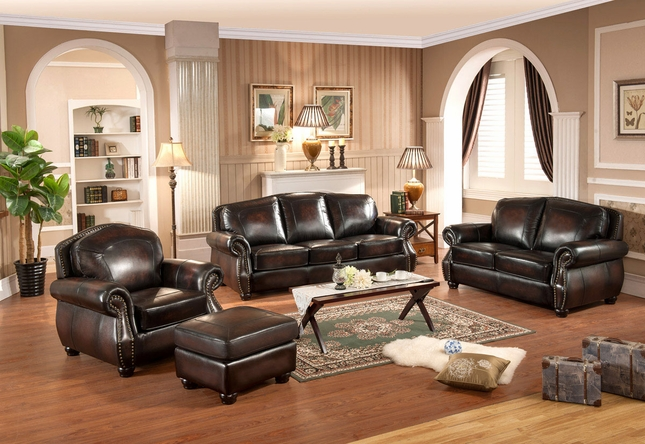Hyde Antique Burgundy Real Top Grain Leather 4pc Sofa Set With Ottoman