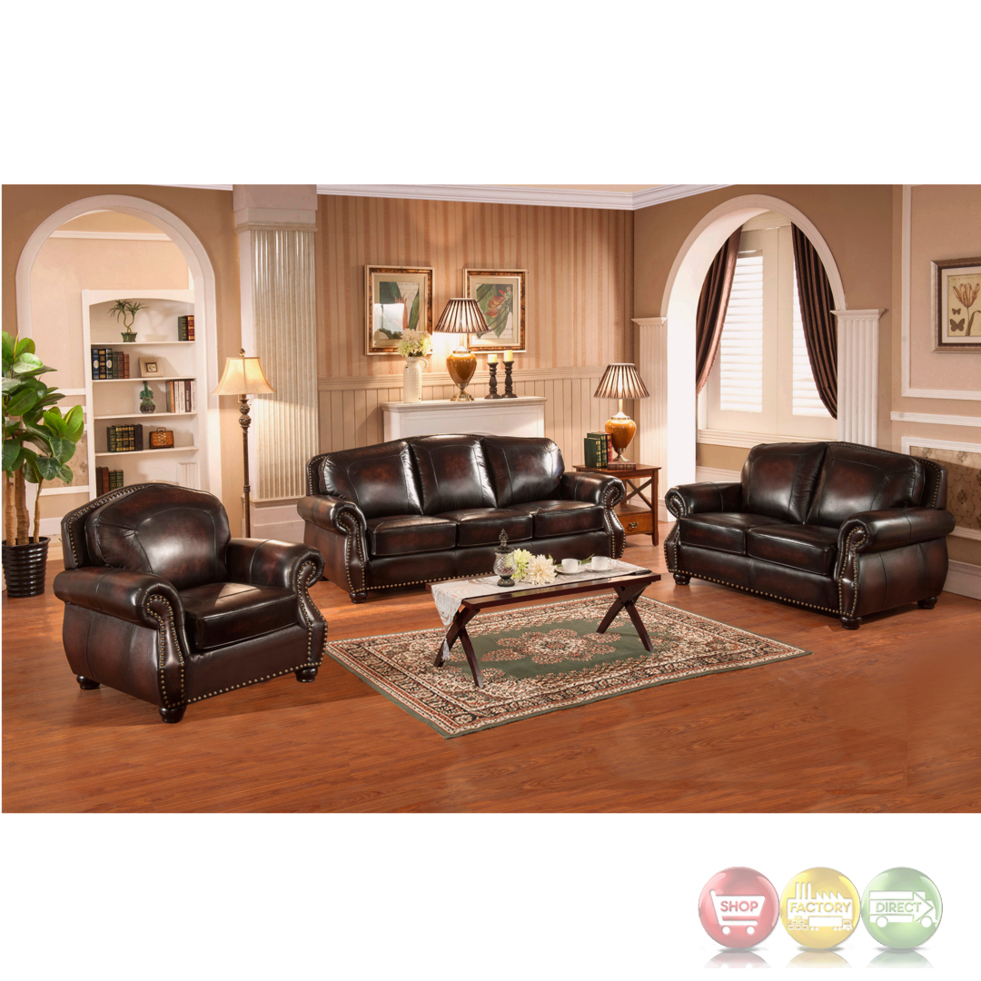 Hyde 3pc Sofa Set With Antiqued Hand Rubbed Top Grain