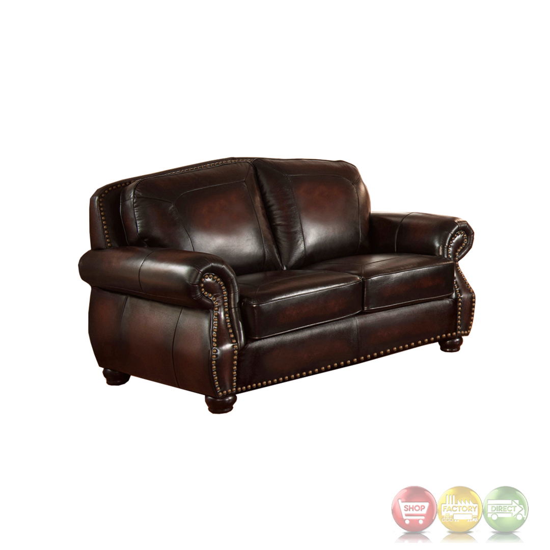 Leather Sofa Price: Hyde 3pc Sofa Set With Antiqued Hand Rubbed Top Grain