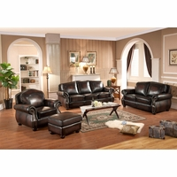 Hyde Sofa & Loveseat Set In Antiqued Hand Rubbed Top Grain Burgundy Leather