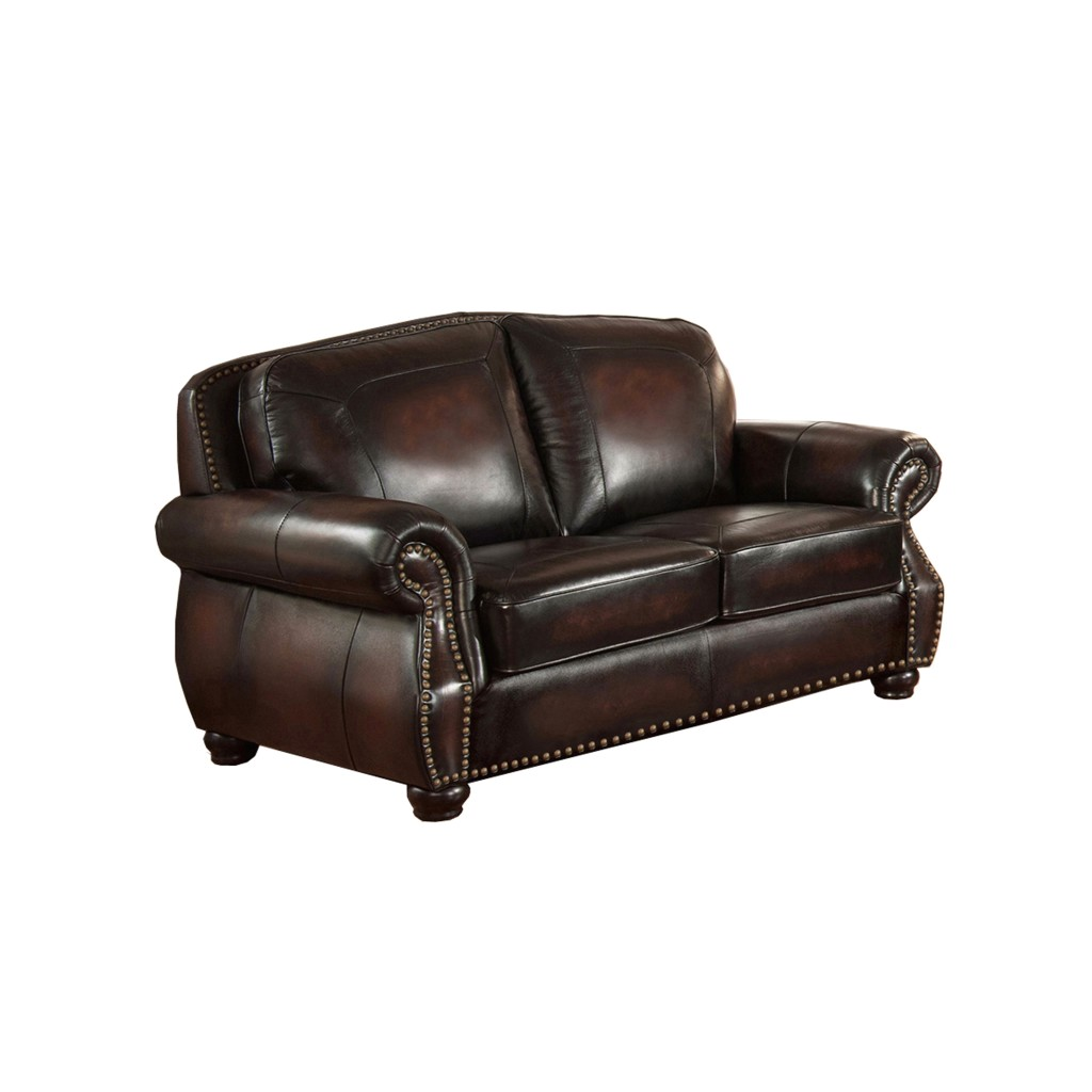 Hyde top grain burgundy leather loveseat with antiqued hand rubbed finish Burgundy leather loveseat