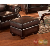 Hyde Top Grain Burgundy Leather Ottoman With Antiqued Hand Rubbed Finish