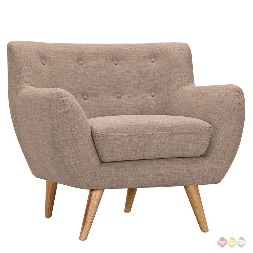 Ida modern beige button tufted upholstered armchair with for Armchair builder