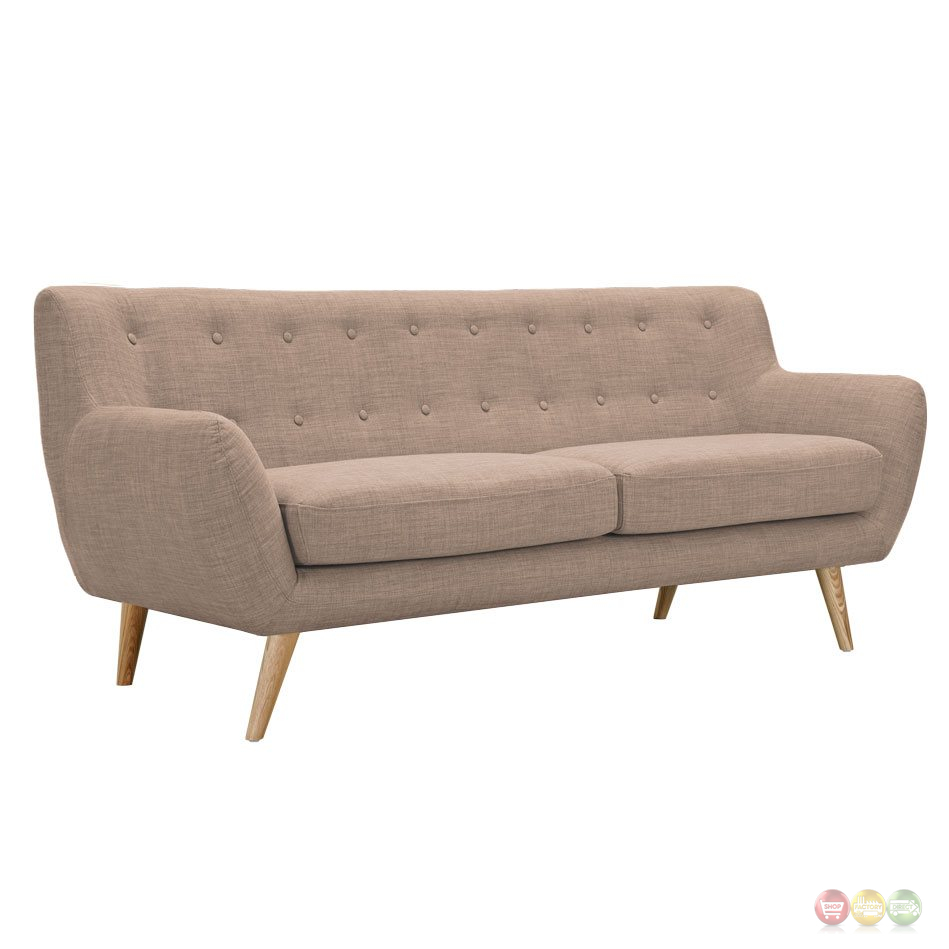 Beige tufted sofa for Button tufted chaise settee