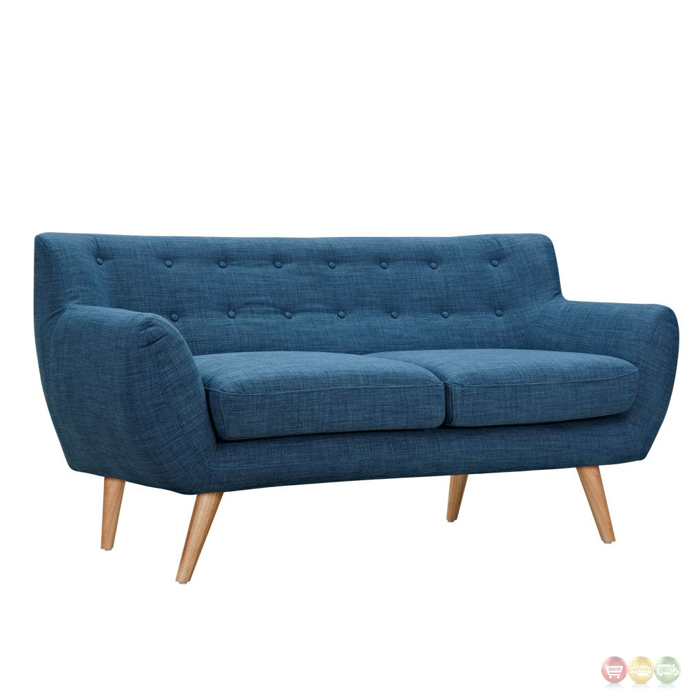 Ida Modern Blue Button Tufted Upholstered Loveseat With Natural Finish
