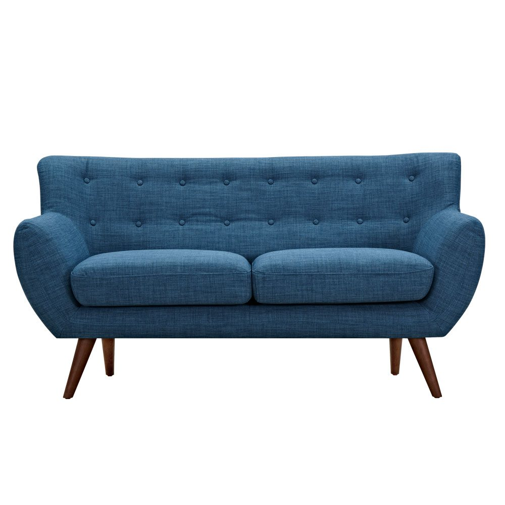 Ida Modern Blue Button Tufted Upholstered Loveseat With Walnut Finish