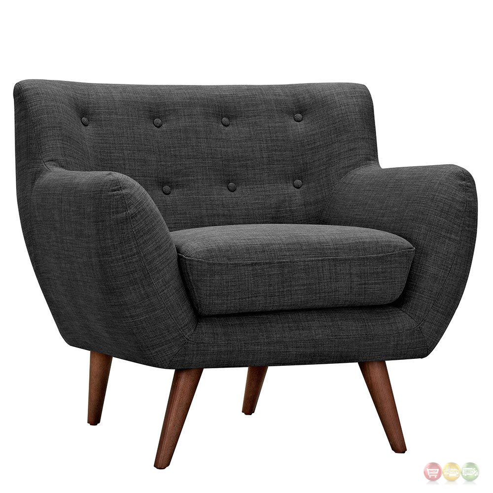 Ida modern dark grey button tufted upholstered armchair w for Armchair builder