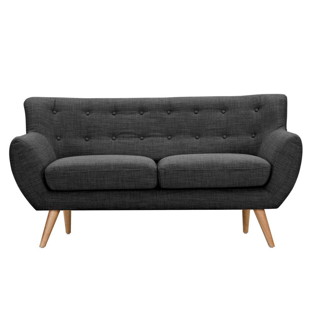 Ida Modern Dark Grey Button Tufted Upholstered Loveseat W Natural Finish