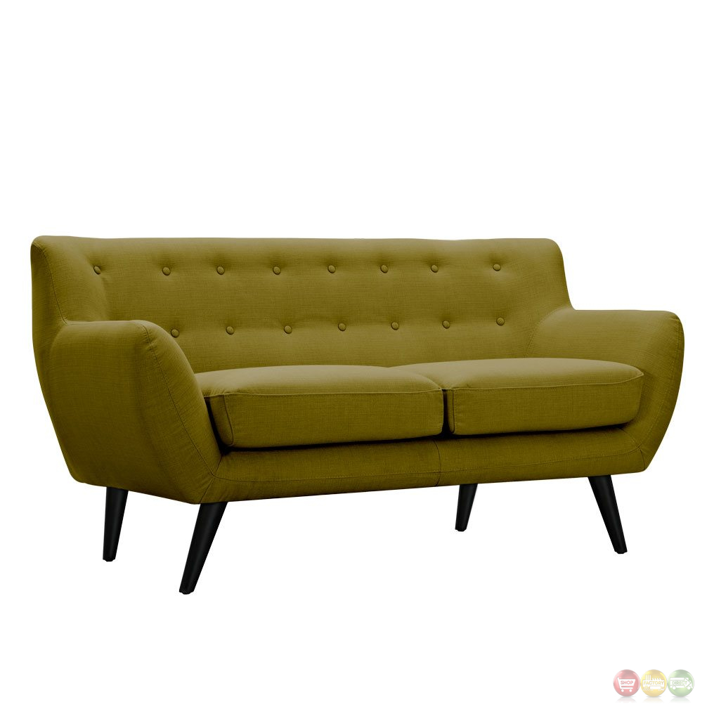 Ida Modern Green Button Tufted Upholstered Loveseat W Black Finish