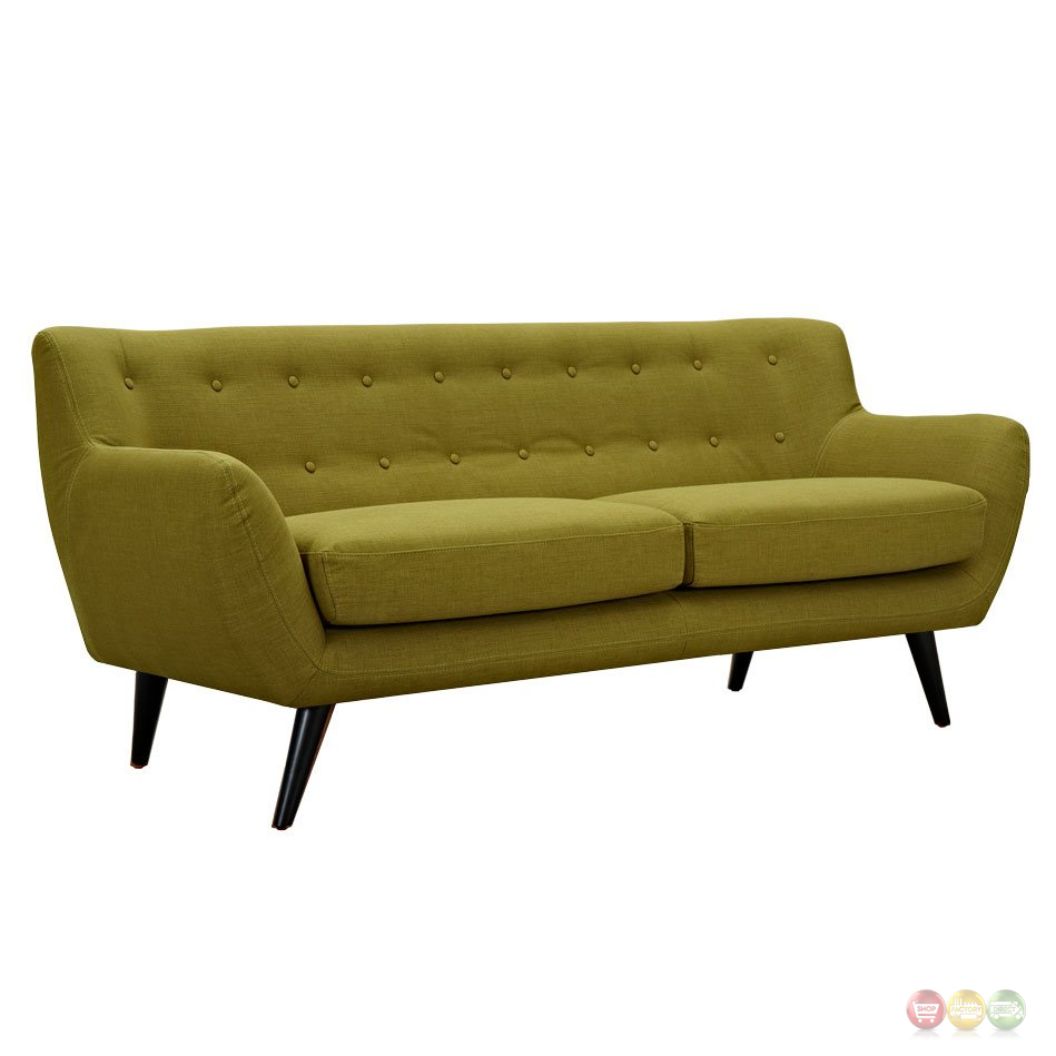 Ida modern green button tufted upholstered sofa with black for Button tufted chaise settee green