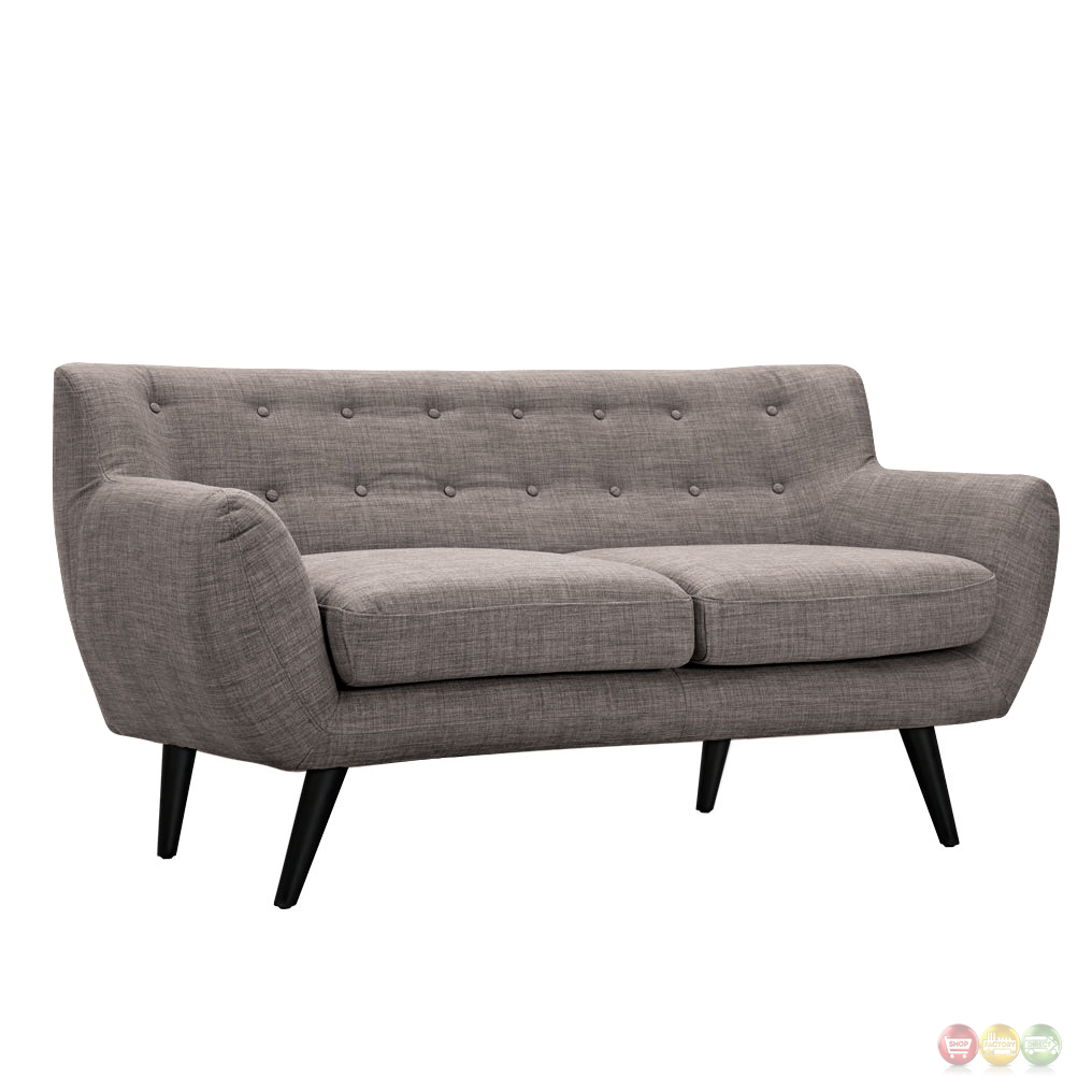 Ida Modern Grey Button Tufted Upholstered Loveseat With Black Finish