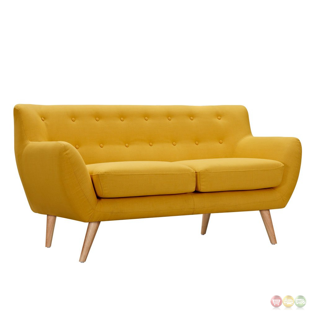 Ida Modern Yellow Button Tufted Upholstered Loveseat W Natural Finish