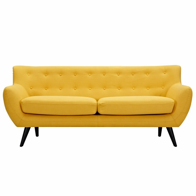 Ida Modern Yellow Button Tufted Upholstered Sofa With Black ...