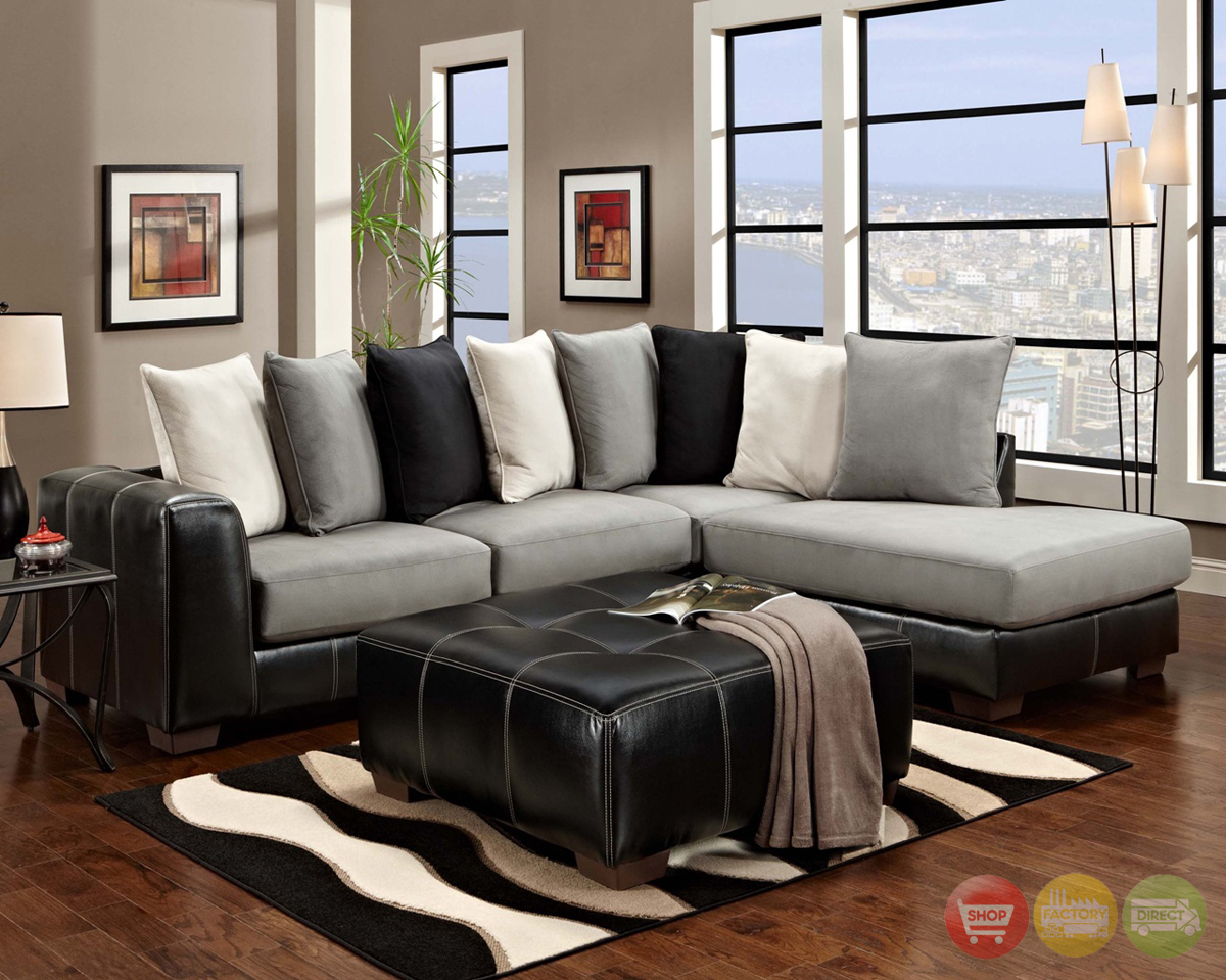 Idol Steel Black Gray White Sectional Sofa Loose Pillow Back