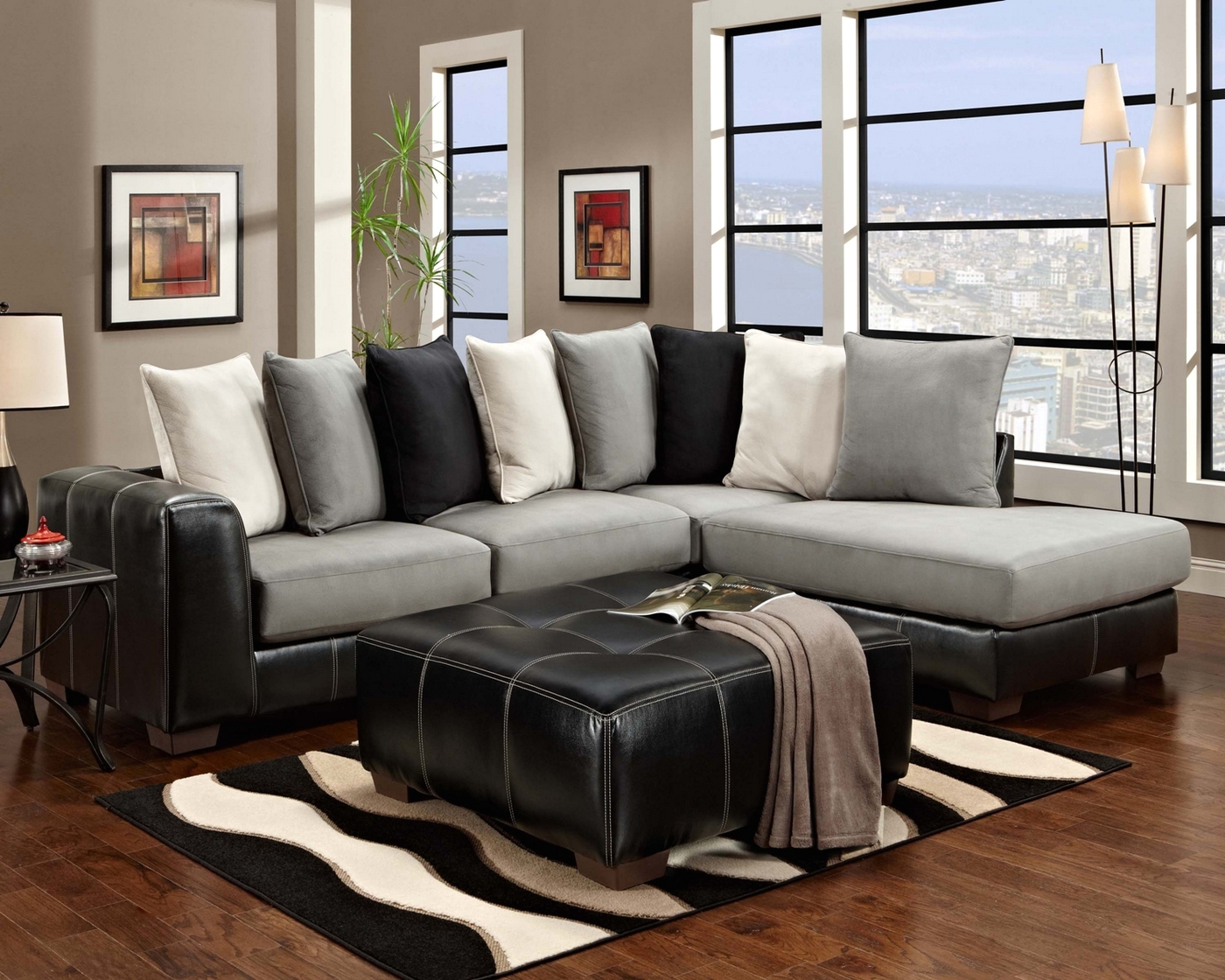 Idol Steel Black Gray Amp White Sectional Sofa Loose Pillow Back