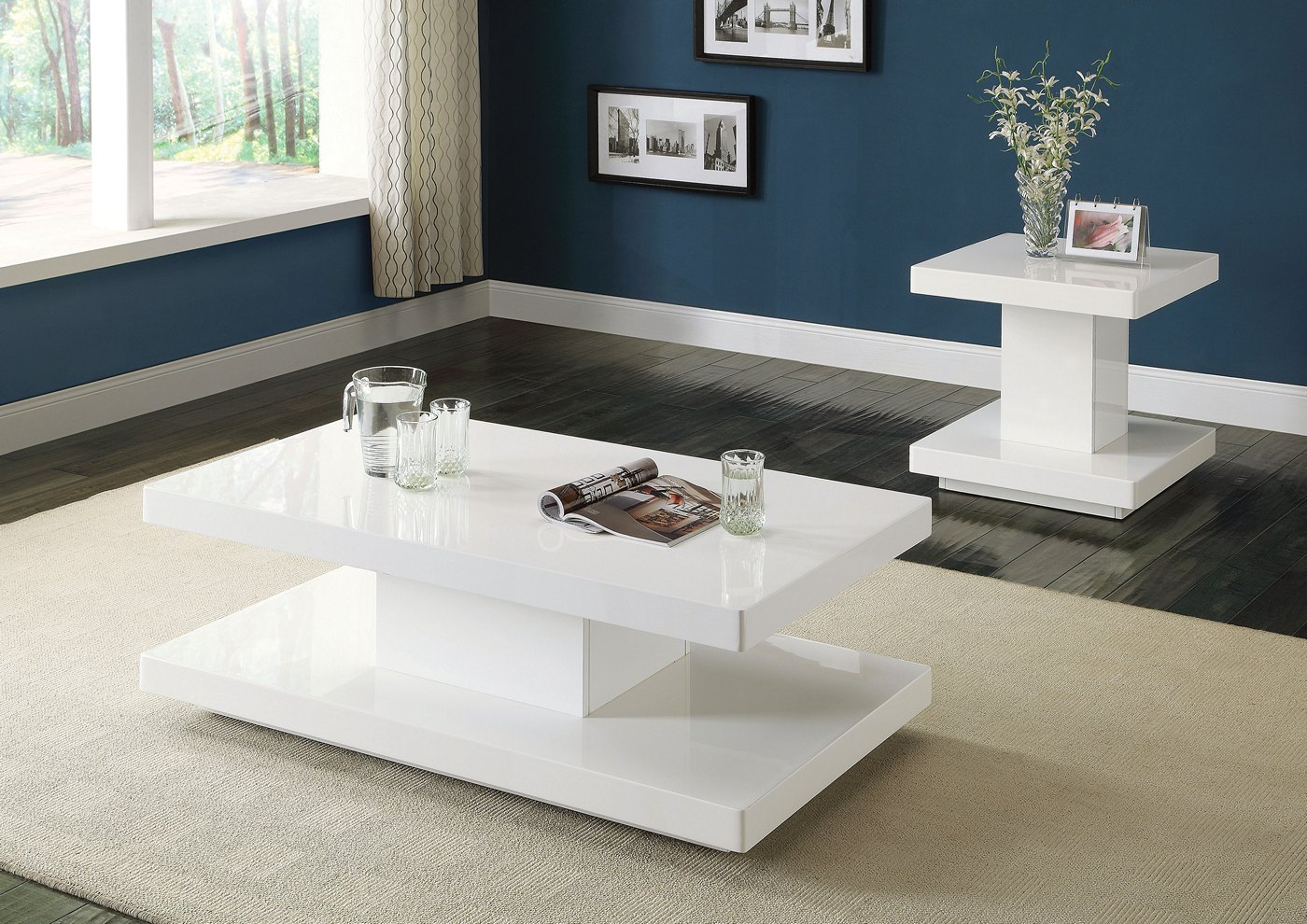 Ifama Contemporary End Table In White High Gloss Lacquer