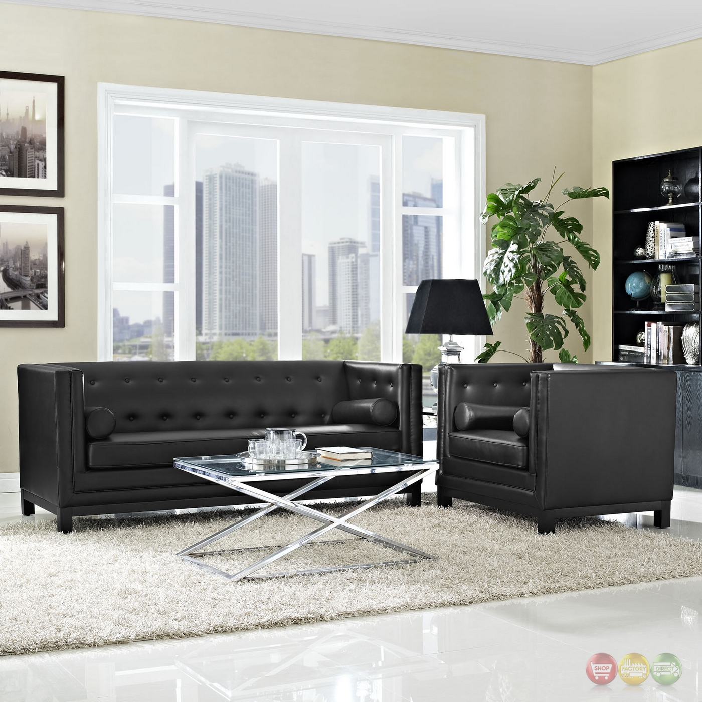 imperial contemporary 2pc button tufted leather living room set black. Black Bedroom Furniture Sets. Home Design Ideas