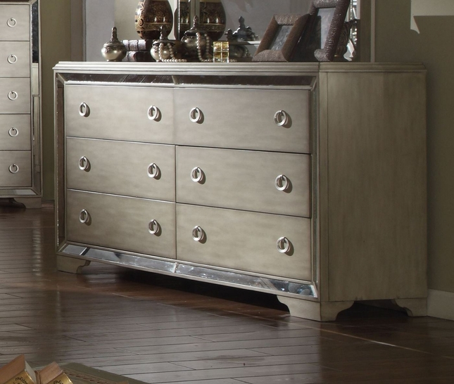 Imperial Contemporary Glamour 6-Drawer Dresser In Pearl Beige