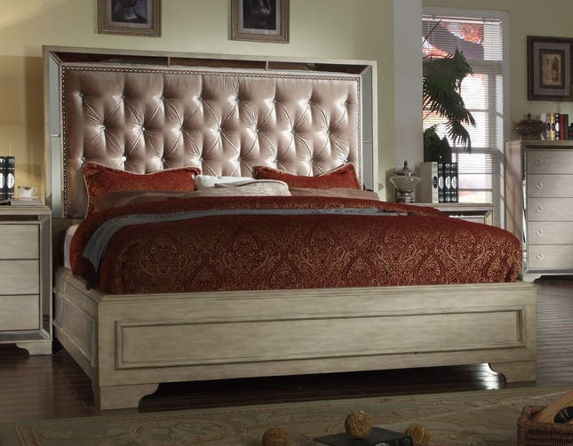 Imperial Contemporary Glamour King Bed With Crystal Tufted Headboard
