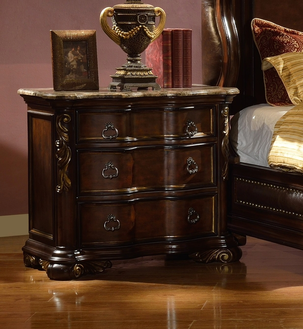 Imperial Traditional Concave 3-Drawer Marble Nightstand In Dark Brown