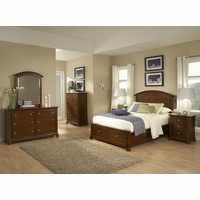 Impressions Kids Wood Panel Twin Bed w/ Storage Footboard in Cherry Finish